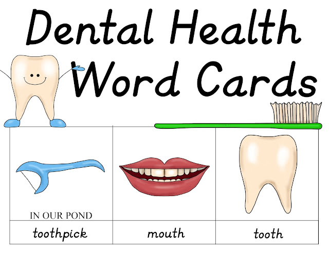 Dental Health Word Card Printable from In Our Pond  #teeth  #homeschooling  #dentist  #montessori  #3partcards  #dentalunit  #toothfairy