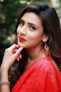 Bidya Sinha Saha Mim In Red Saree Image