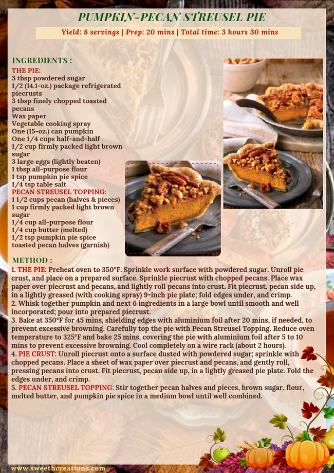PUMPKIN-PECAN STREUSEL PIE RECIPE