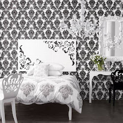 decor wall paper walls decoration bedroom rooms bedrooms damask theme modern stylish bed accent idea