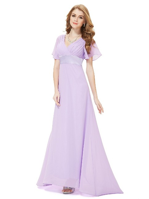 Long Empire Waist Evening Dress with Short Flutter Sleeves (Price:$36.54)