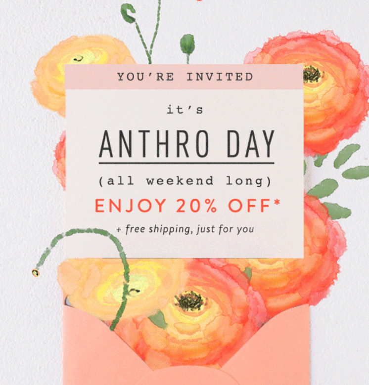 Take 20% off your Anthropologie order and other promotions to shop this weekend :: Effortlessly with Roxy