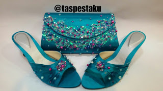 Set Match Tas Pesta Clutch Bag Biru Tosca Pink Fanta