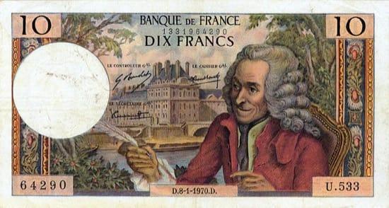 Voltaire, representado en un billete