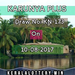 Karunya Plus KN-173 on 10-8-2017- Keralalottery results today