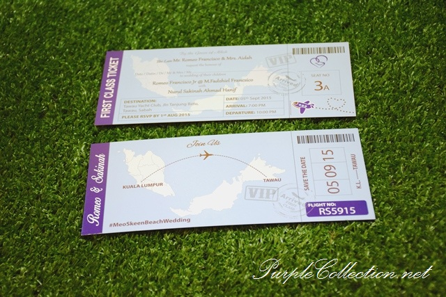 Malaysia Wedding Boarding Pass Card Printing, personalised, personalized, custom made, handmade, hand crafted, design, online, purchase, buy, sell, map, tawau, sabah, sarawak, singapore, johor bahru, penang, perak, kuantan, bentong, pahang, seremban, melaka, cetak, kad kad kahwin, murah, simple, elegant, unique, special, light blue, invitation card, spot UV finishing, four round corners finishing, matt lamination