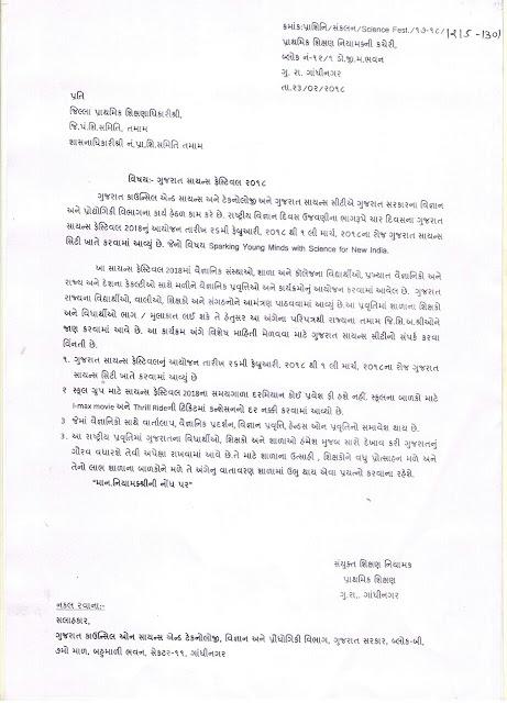 गुजरात सायंस फेस्टिवल 2018 का आयोजन बाबत पत्र