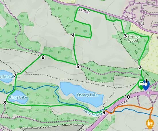 Map for Walk 79:  Panshanger Short Loop Created on Map Hub by Hertfordshire Walker Elements © Thunderforest © OpenStreetMap contributors Note: There is a larger, more detailed map embedded at the end of these directions