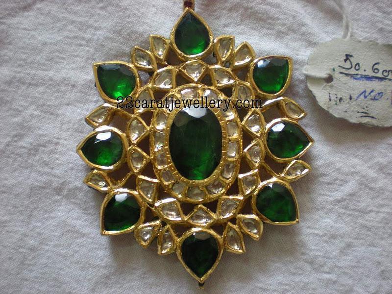 Polki kundan pendants gallery 50 grams jewellery designs checkout 22 carat gold kundan pendant sets studded with polki diamonds and ruby emeralds aloadofball Choice Image
