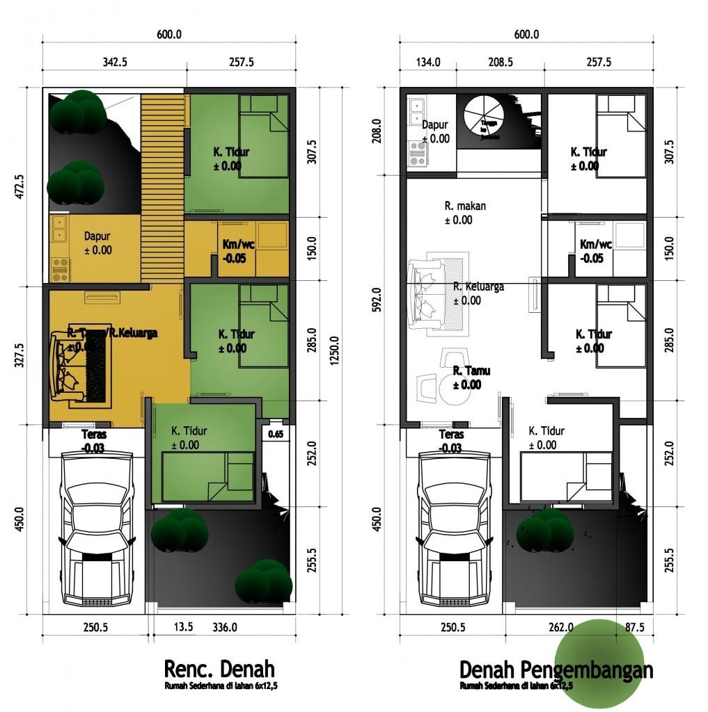 Denah Rumah 3 Kamar Ukuran 7x12