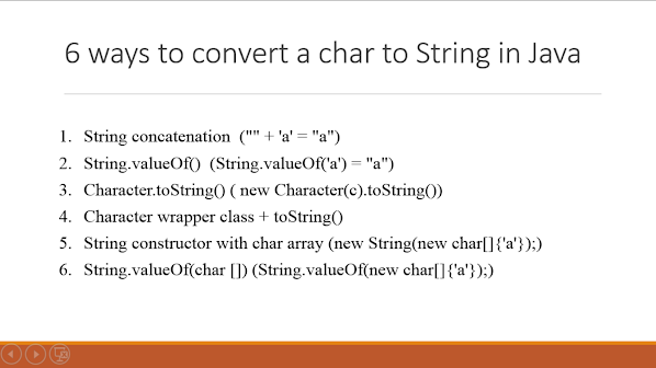 6 ways to convert a char to String object in Java