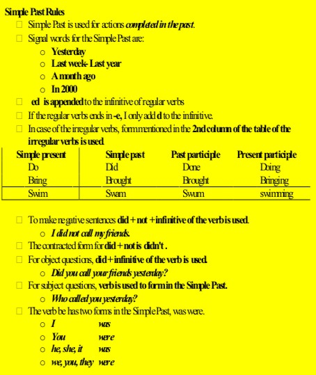 rules of simple past tense pdf