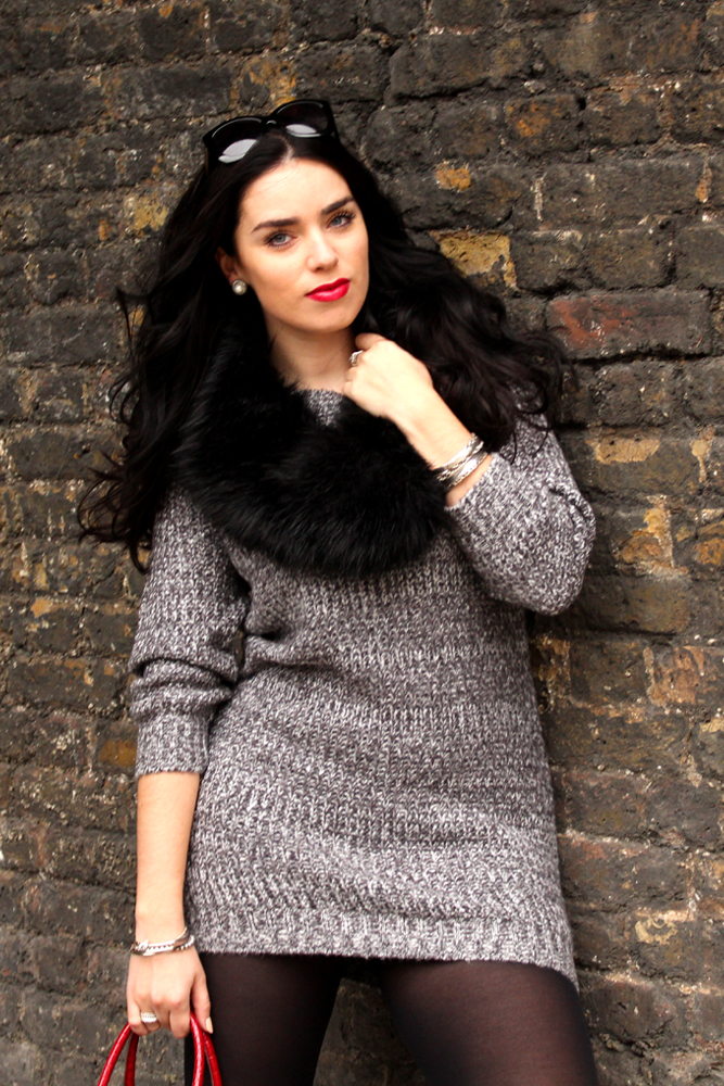 Emma Louise Layla in cosy grey knitwear - London fashion blogger