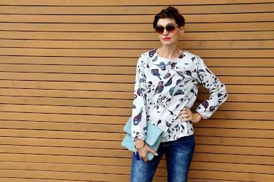 koszula, bluzka w ptaszki, kolorowa koszula, jesienna stylizacja, na jesień, csual, porady stylistki,