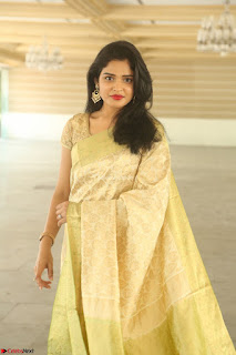 Harshitha looks stunning in Cream Sareei at silk india expo launch at imperial gardens Hyderabad ~  Exclusive Celebrities Galleries 020.JPG