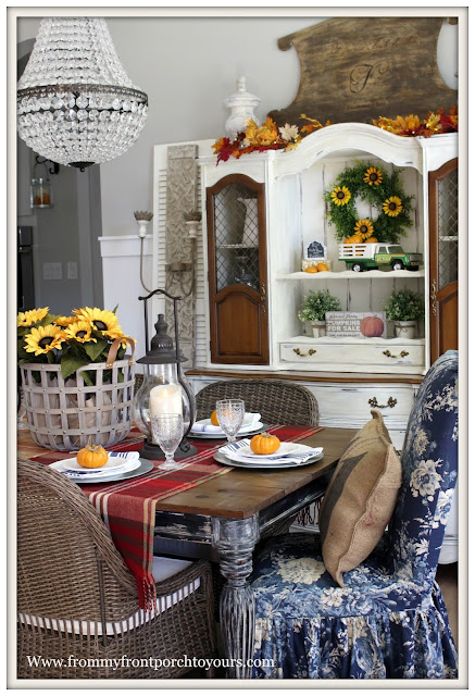 French Farmhouse Style Fall Dining Room-Blue Floral Parson Chair Slip Cover-Tablesetting-Basket of Sunflowers-From My Front Porch To Yours