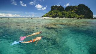 swimming in Fiji Islands
