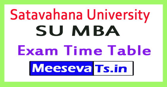 Satavahana University SU MBA Exam Time Table 2017