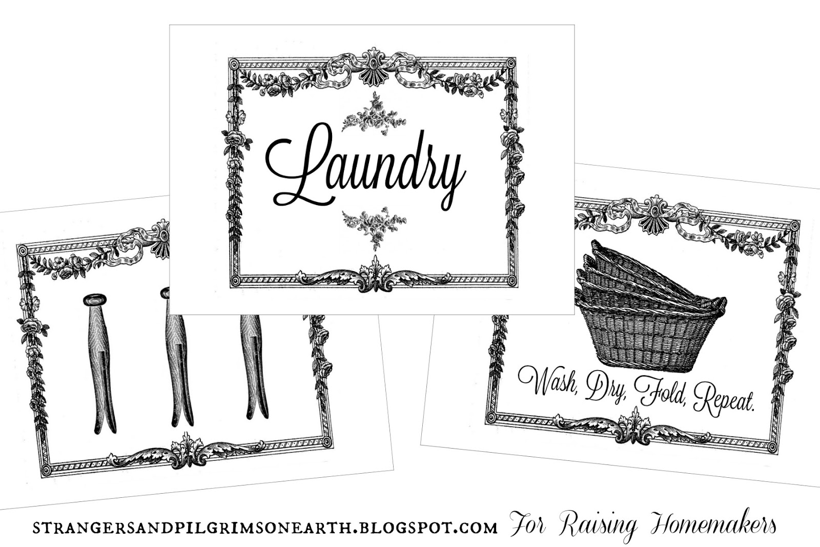 graphic relating to Printable Laundry Signs identified as 7 Types of Laundry House Artwork ~ Absolutely free Printable Sets