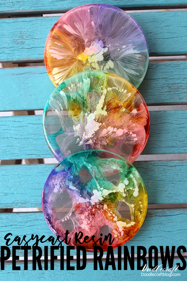 Easycast resin petrified rainbows made with alcohol inks and clear casting resin
