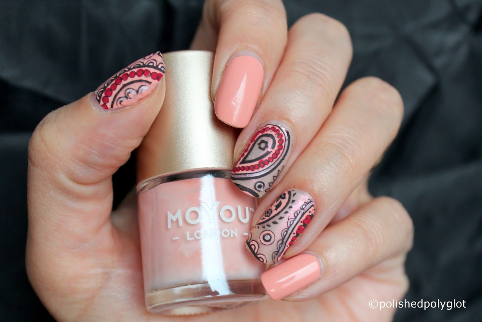 Nail Art │ Pink Satin Paisley manicure done with Silicone Mat ...