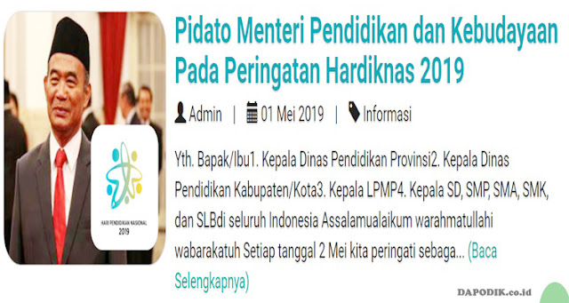 Rilis Pidato Menteri Pendidikan dan Kebudayaan Pada Peringatan Hardiknas 2019