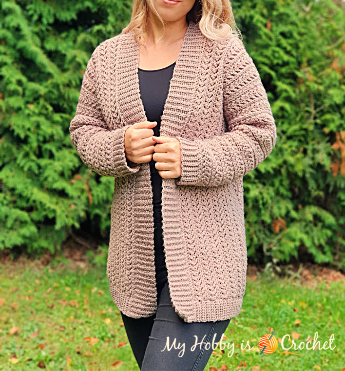 Chic Aran Cardigan - Free Crochet Pattern with Tutorial