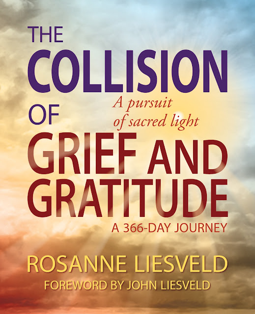 Book Cover for self help novel, The Collision of Grief and Gratitude, by Rosanne Liesveld.