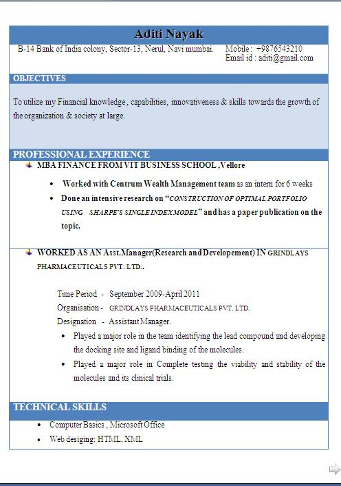 mba finance with 5 years work experience resume format in word free download