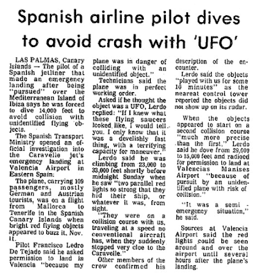 Spanish Airline Pilot Dives to Avoid UFO - The Baltimore Afro-American 11-24-1979