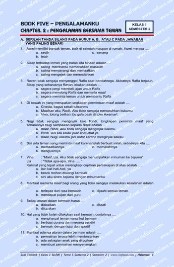 Sikap terhadap sahabat yang harus kita hindari yaitu  Download Soal Tematik Kelas 1 Tema 5 Subtema 2 Kurikulum 2013 Edisi Revisi Terbaru Tahun 2021 / 2021