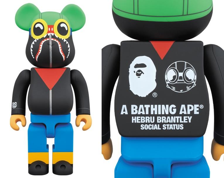 b71e0274 A Bathing Ape x Hebru Brantley x Social Status Be@rbrick Vinyl Figures by  Medicom