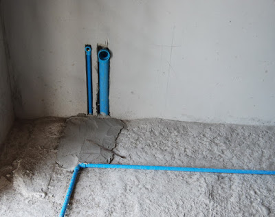 Blue PVC Cold Water Pipe installed in Bathroom near Buriram Housing Estate Lively Homes