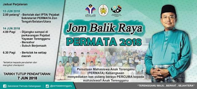 BAS PERCUMA UNTUK MAHASISWA TERENGGANU BALIK RAYA 2018