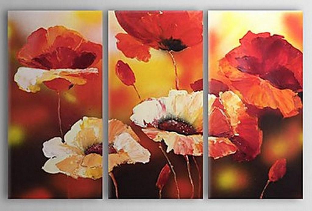 serie de cuadros al leo de flores grandes y modernas