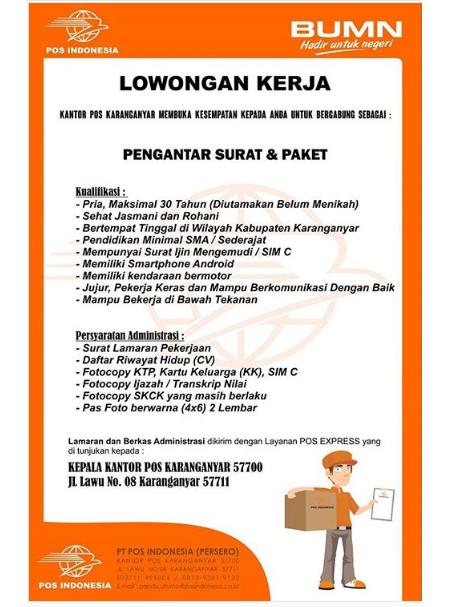Lowongan Kerja Kantor Pos Indonesia Minimal SMA sederajat
