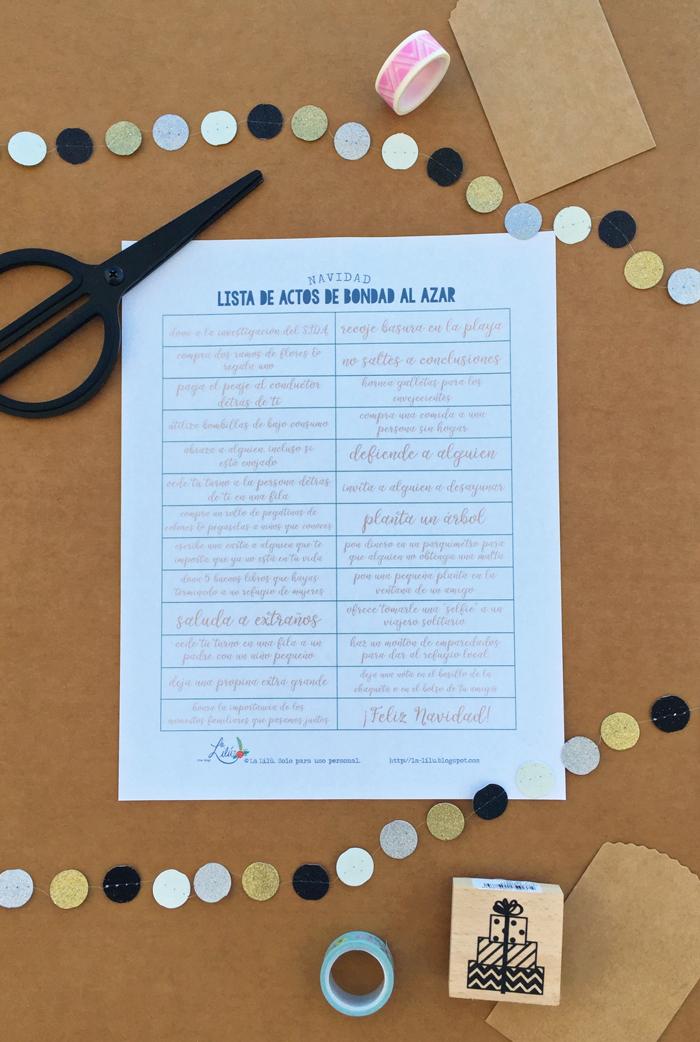 Lista imprimible de ideas para actos de bondad al azar, Navidad, fiestas, descarga gratuita, amabilidad, papelería