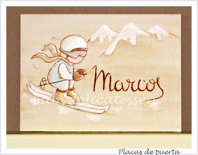 placa de puerta infantil esquiador tablilla babydelicatessen