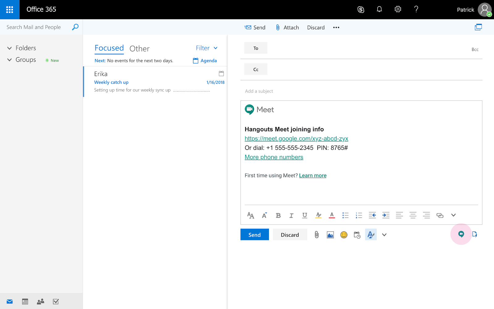 G Suite Updates Blog: Hangouts Meet add-in for Microsoft Outlook