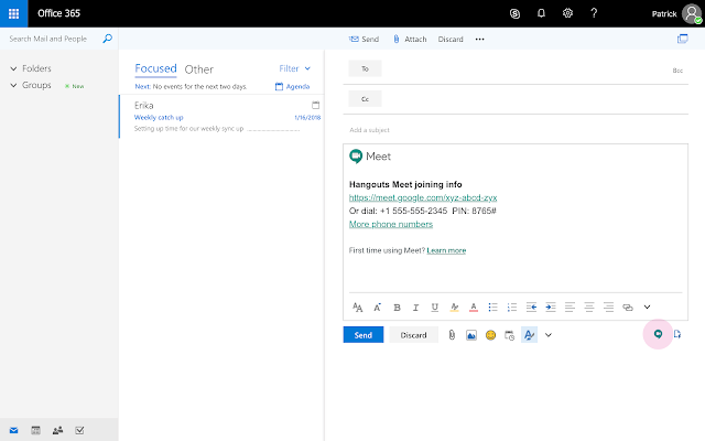 Outlook-Zugriff auf Hangouts Meet