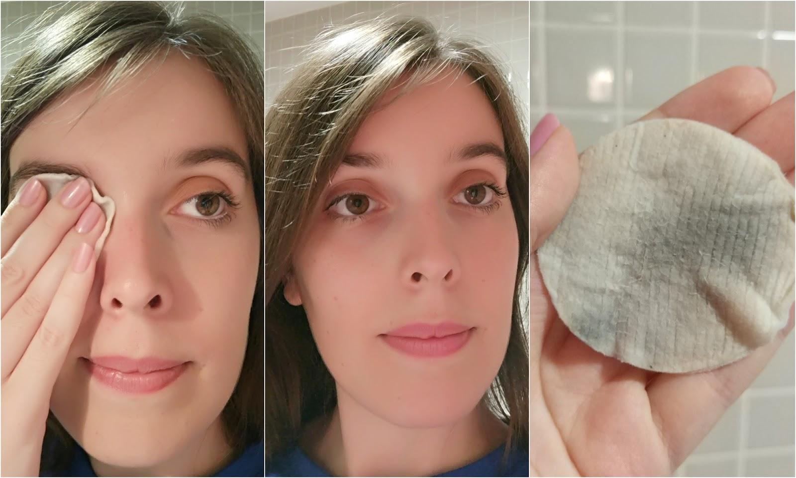 Desmaquilhante p/ olhos sensíveis e com lentes de contacto, Cosmia - Processo de remoção e resultado