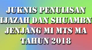 Juknis Penulisan Ijazah dan SHUAMBN Jenjang MI MTs MA Madrasah 2018 PDF