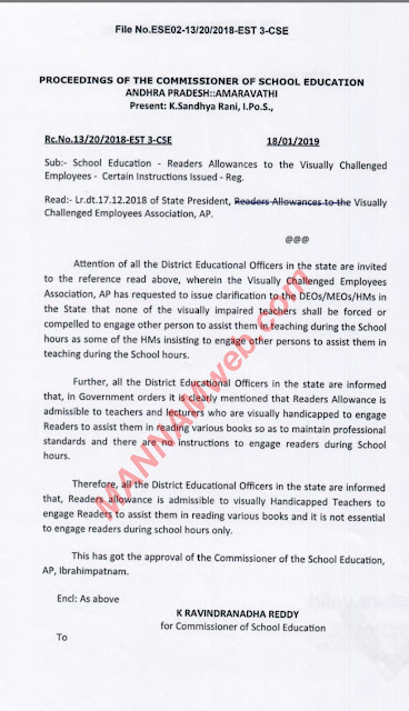 Readers Allowances to the Visually Challenged Employees Certain Instructions Issued Reg,Rc.13 ,Dt.18/1/2019