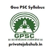 Goa PSC Syllabus