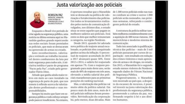 Robson Paz, O Imparcial