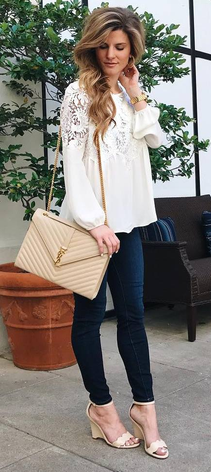 outfit idea lacer blouse + bag + skinnies