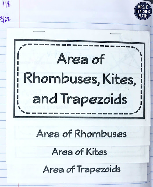 area of rhombuses, kites, and trapezoids flipbook for geometry interactive notebooks