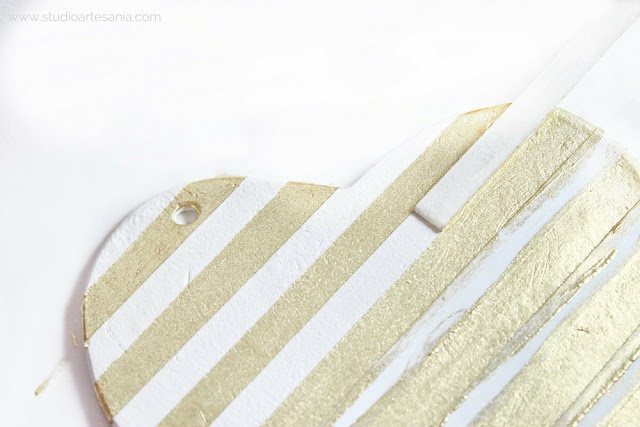 DIY Striped gold and white heart