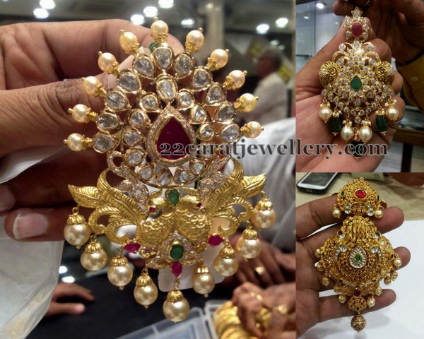 Pretty Pendants in Peacock Kundan
