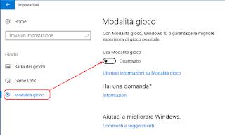 Disattiva modalità gioco - Windows 10